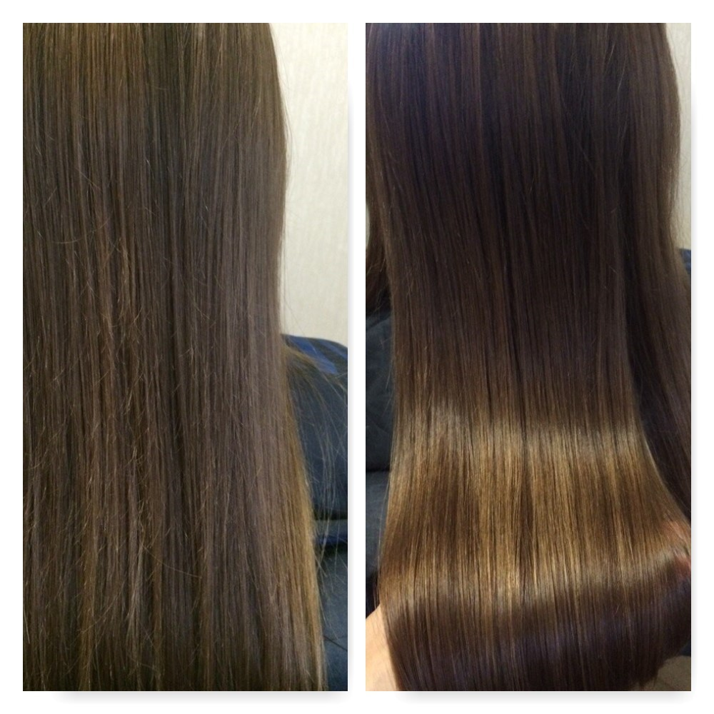 полировка волосы до и после