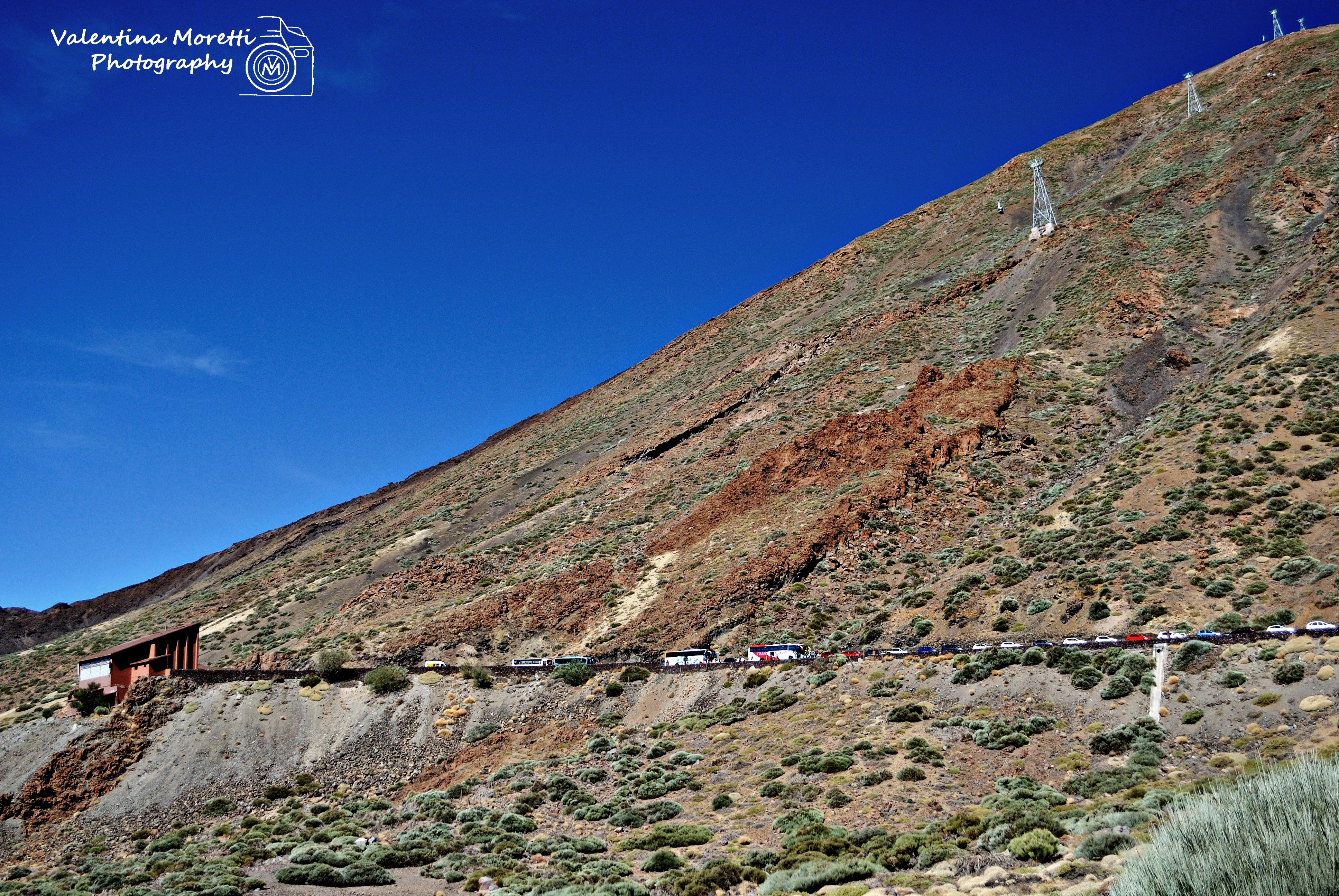 El Teide,auto parcheggiate e funivia