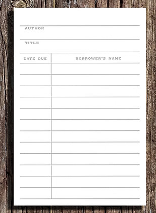 Library Card Notepad - Set of Two 5.5x8.5