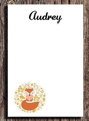Personalized Fox Notepad - Set of Two 5.5x8.5