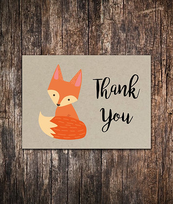 Fox Thank You Notecards Set of 10 - 5.5 x 4.25