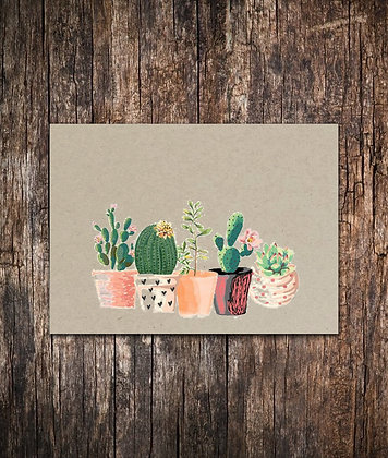 Potted Succulents Note Cards Set of 10 - 5.5 x 4.25 Note Cards