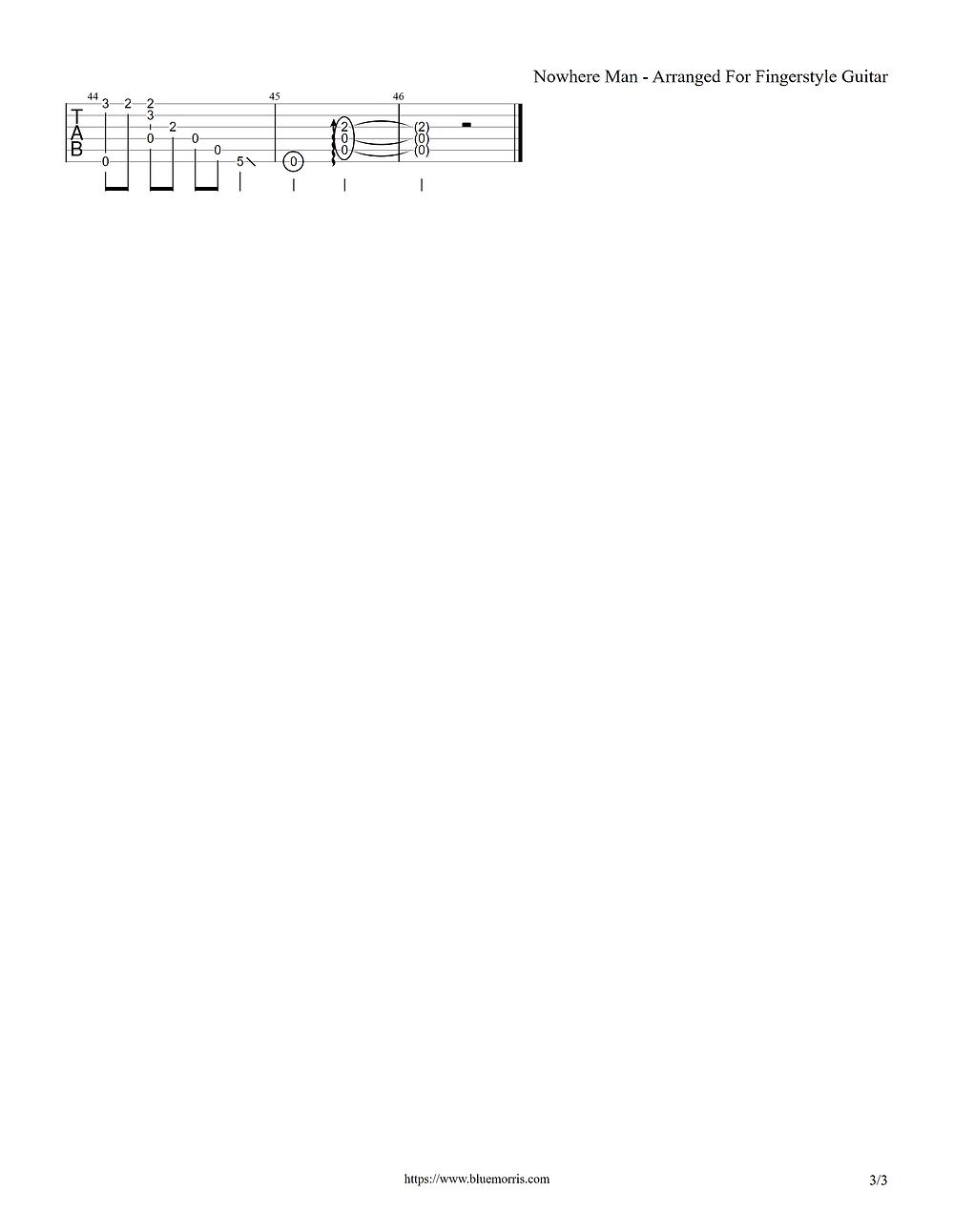 Nowhere Man guitar tab arrangement page 3