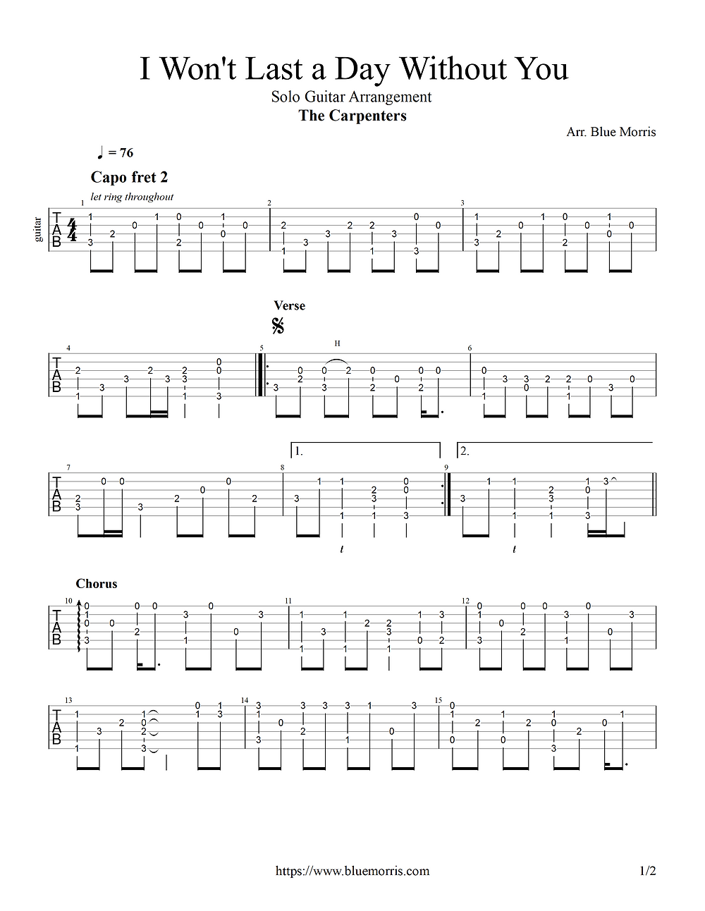 The Carpenters I Won't Last a Day Fingerstyle Guitar page 1
