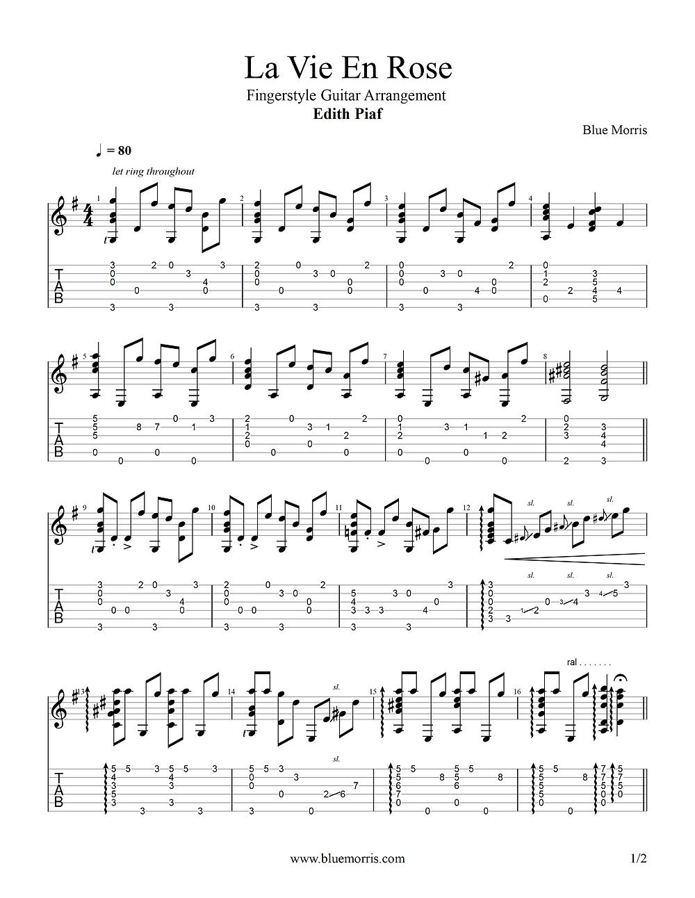 La Vie En Rose Fingerstyle guitar tab page 1