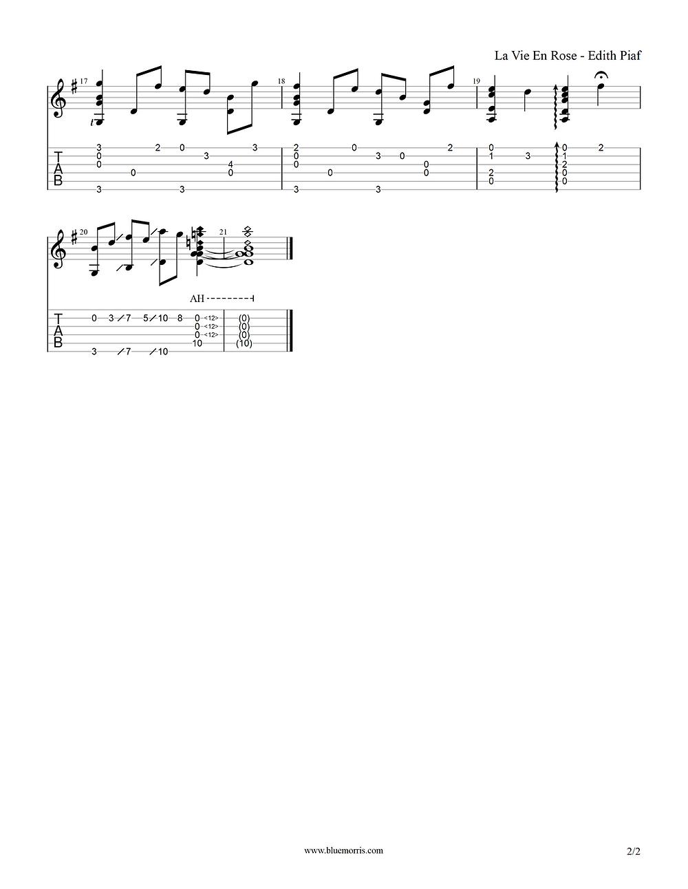 La Vie En Rose Fingerstyle guitar tab page 2