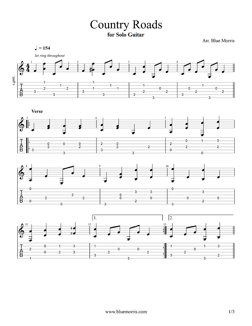 Country Roads guitar tab page 1