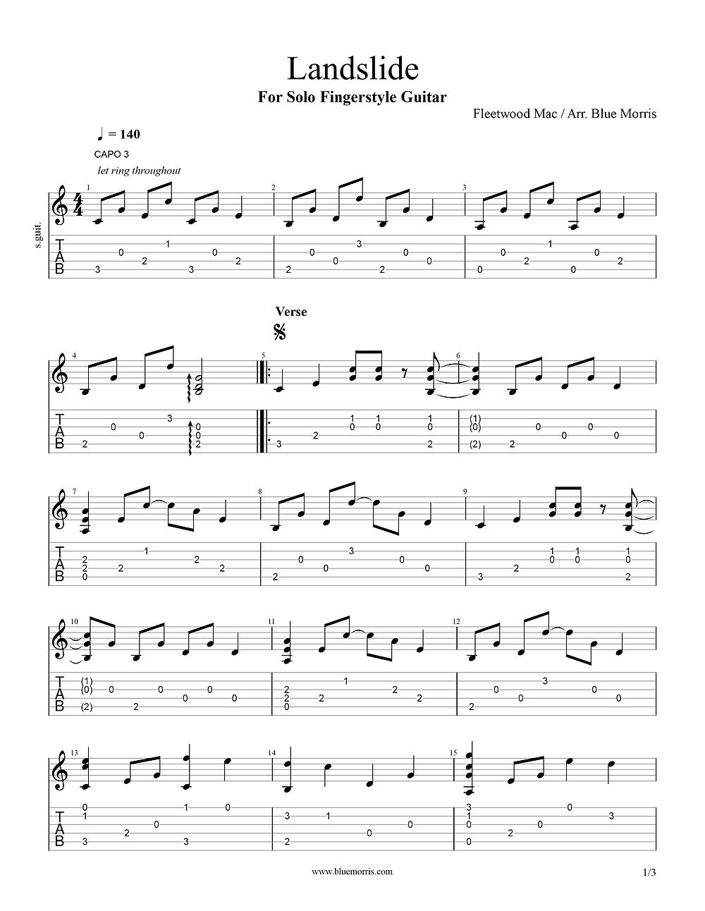 Landslide guitar tab arrangement page 1