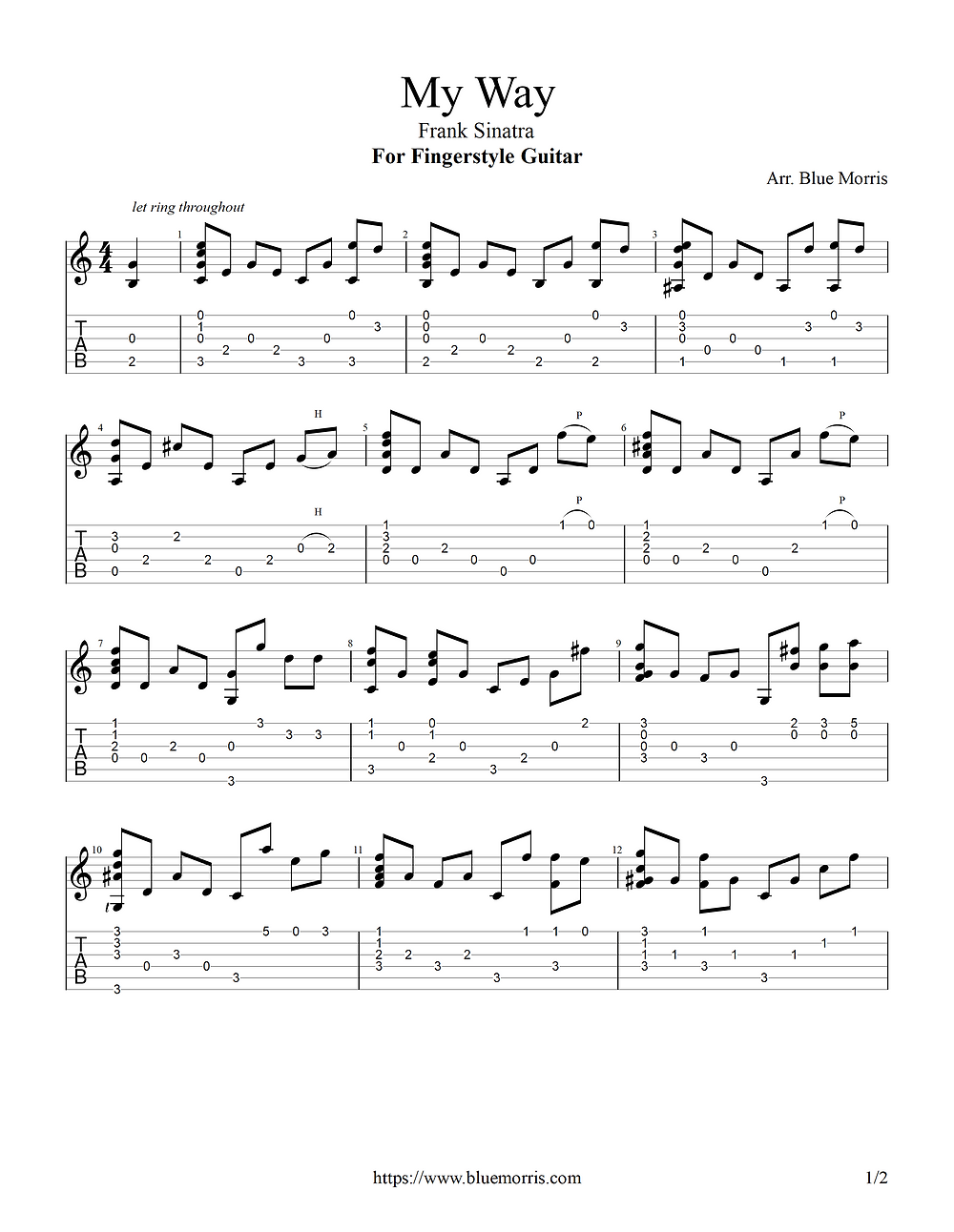 My Way Frank Sinatra Fingerstyle Guitar page 1