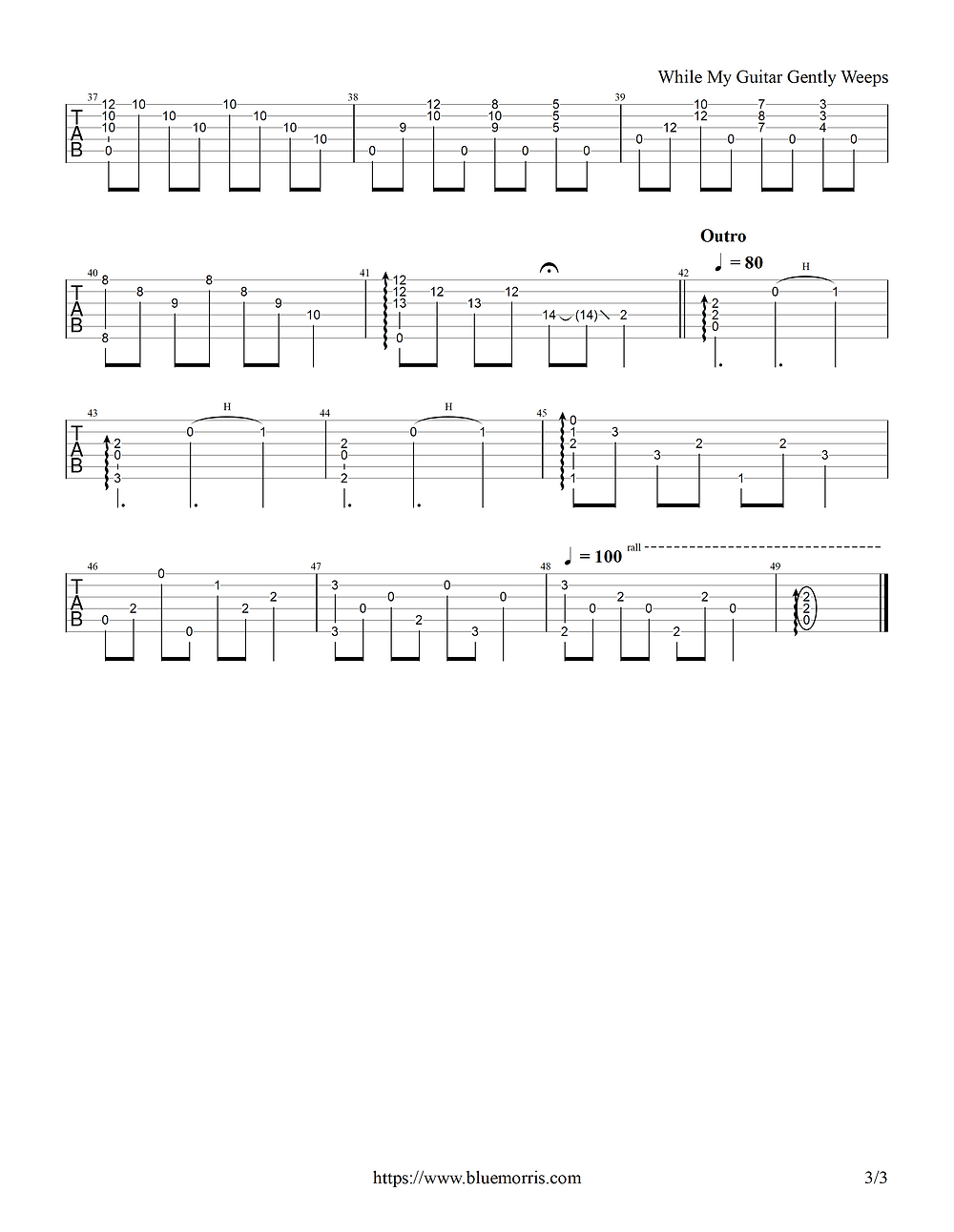 Tab for While My Guitar Gently Weeps fingerstyle page 3