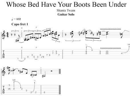 """Guitar Solo from """"Whose Bed Have Your Boots Been Under"""" by Shania Twain"""