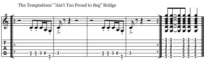 Ain't Too Proud to Beg bridge guitar riff