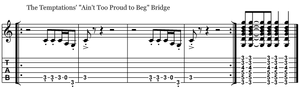 Ain't Too Proud to Beg bridge guitar riff