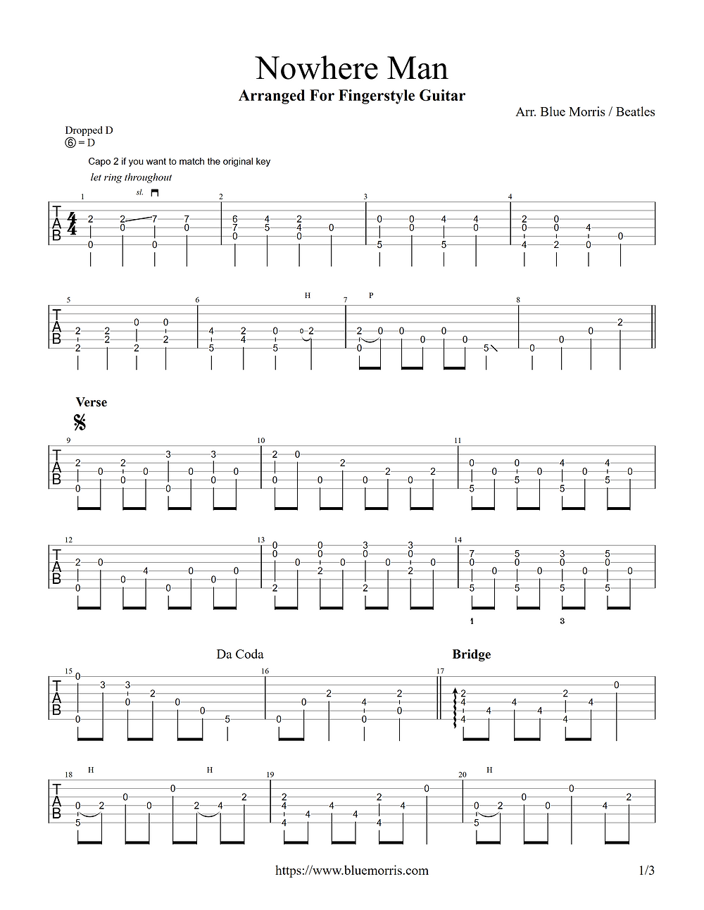 Nowhere Man guitar tab arrangement page 1