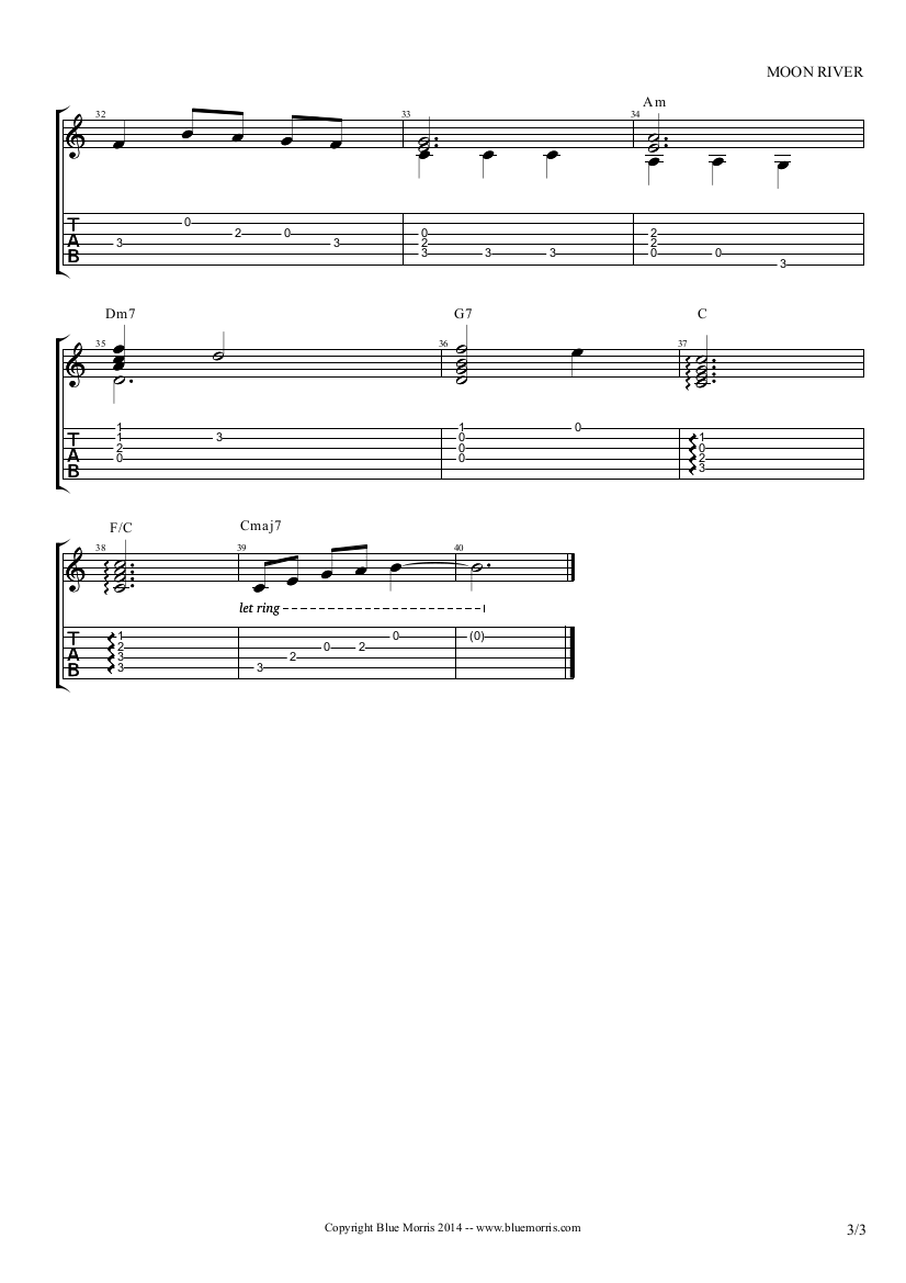 Moon River solo guitar arrangement page 3
