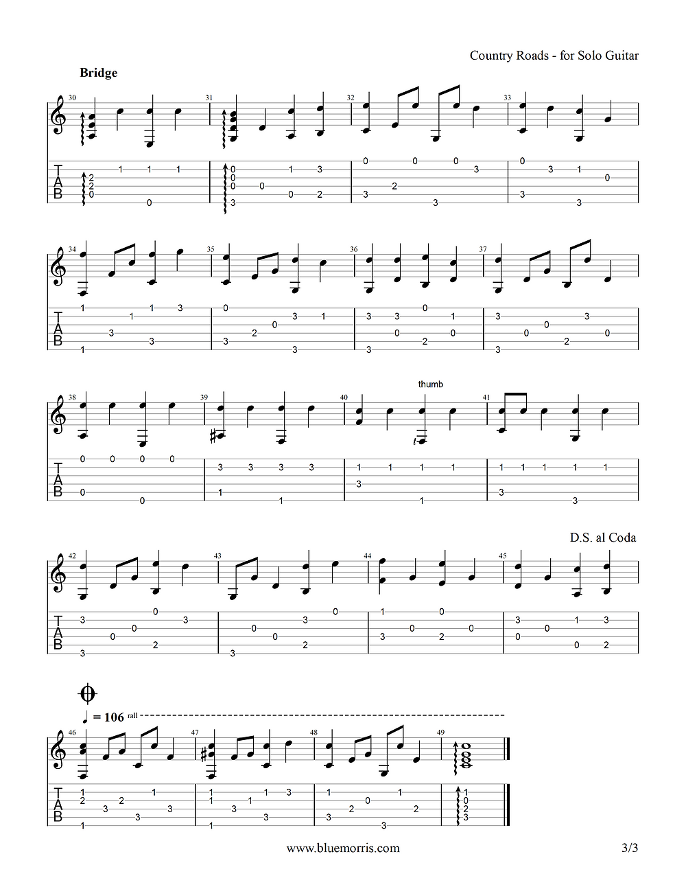 Country Roads guitar tab page 3