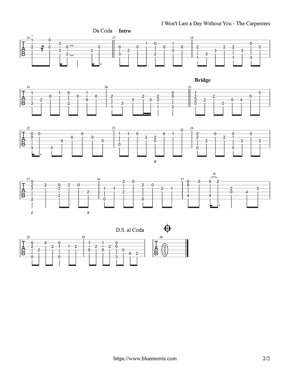 The Carpenters I Won't Last a Day Fingerstyle Guitar page 2