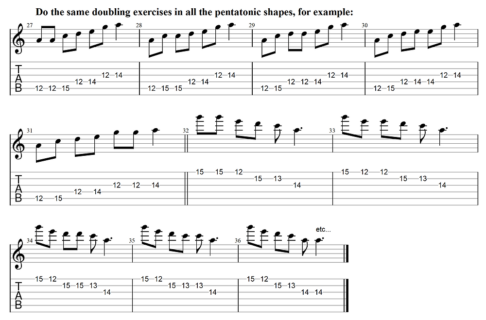 Apply the picking exercise to other pentatonic shapes