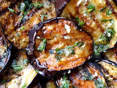 Grilled Eggplants with EVOO, Garlic & Herbs Recipe.