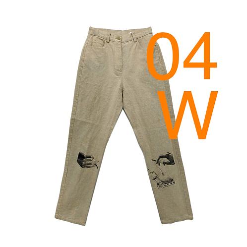 Women's Bad GF Beige Linen Pants