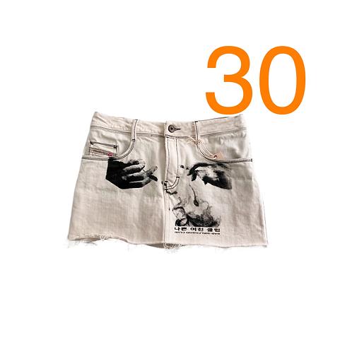 Bad GF Ivory Macro Mini Skirt