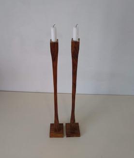 Green oak candlesticks