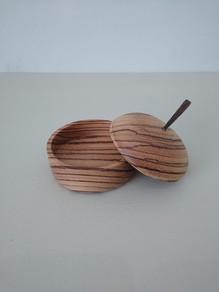 Zebrano lidded bowl
