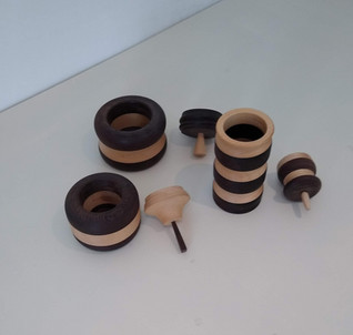 Wenge and sycamore pots