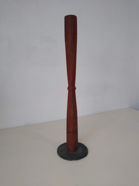 Oak candlestick with slate base