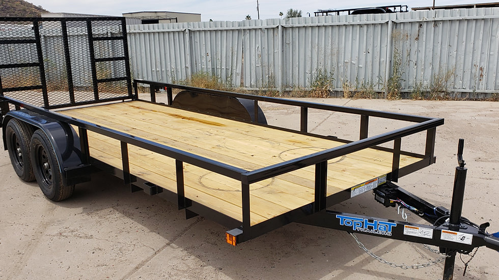 8x14 Top Hat Tandem Axle Utility with Gate (W/Tube Top Rail)