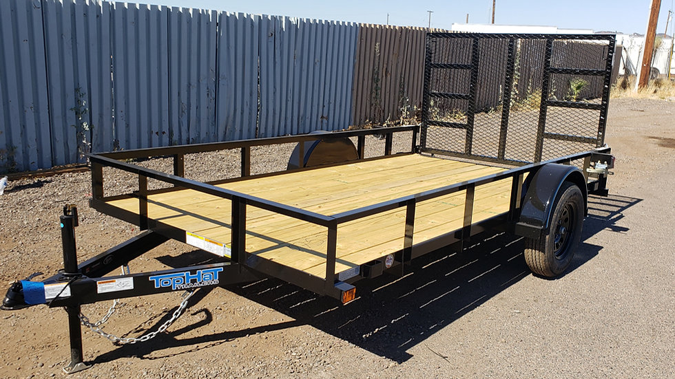 8x10 Top Hat Single Axle Utility with Gate