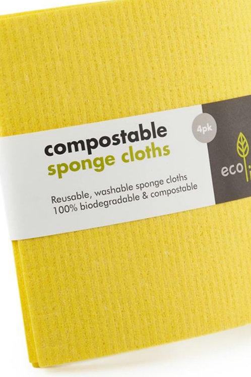 Compostable Yellow Sponge Cloth (4pk)
