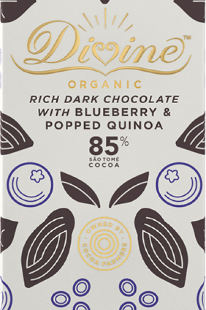 85% Dark Chocolate, Quinoa & Blueberry Bar