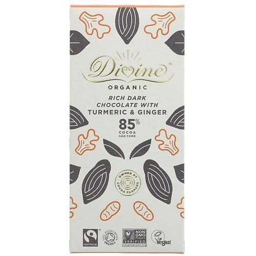 85% Dark Chocolate, Turmeric & Ginger Bar Divine
