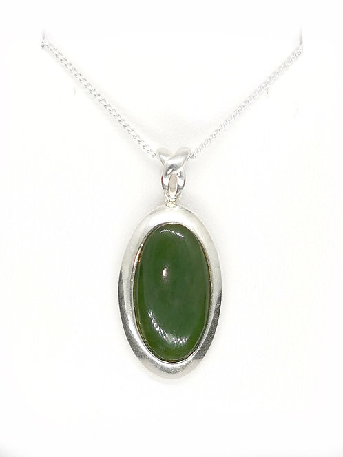 Oval Greenstone Sterling Silver Pendant