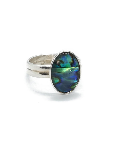 Sterling Silver Ring with Oval Cabochon