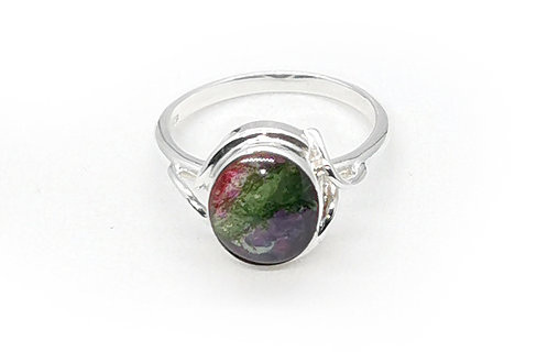 Stylish Sterling Silver Ring with Ruby Rock