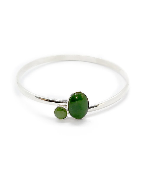 Sterling Silver Open Bangle with Cabochons