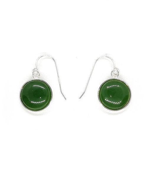Round Greenstone Drop Earring