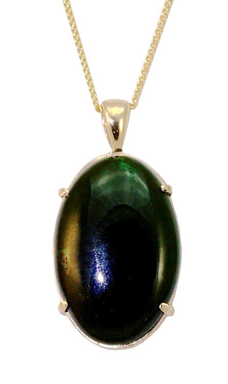 Small Oval Greenstone & 9ct Gold Pendant