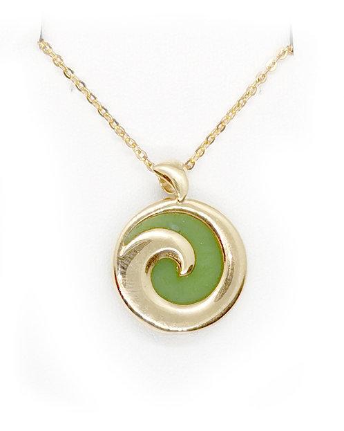 Gold plated Koru with Greenstone
