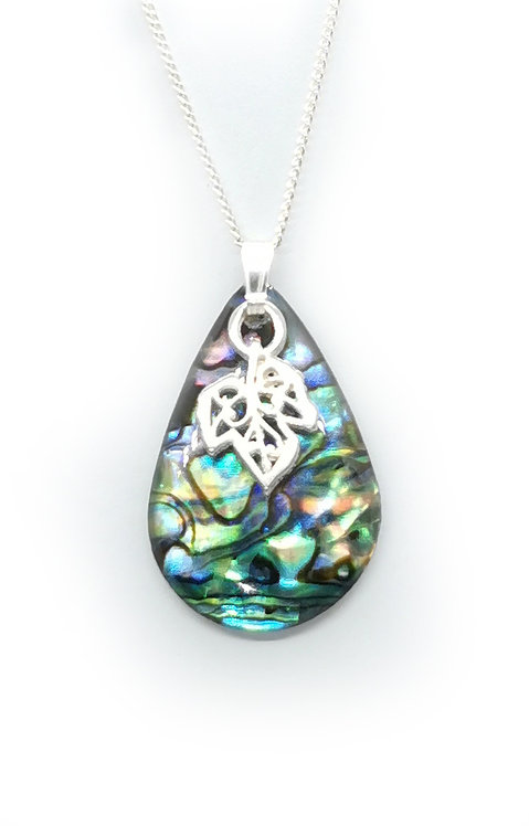 Paua Pendant with Grape Leaf
