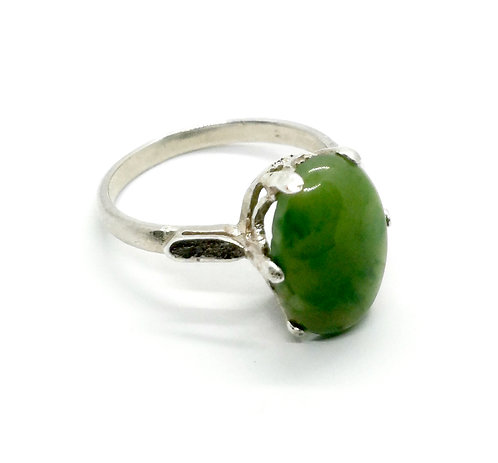 Sterling Silver Ring with Greenstone Cabochon