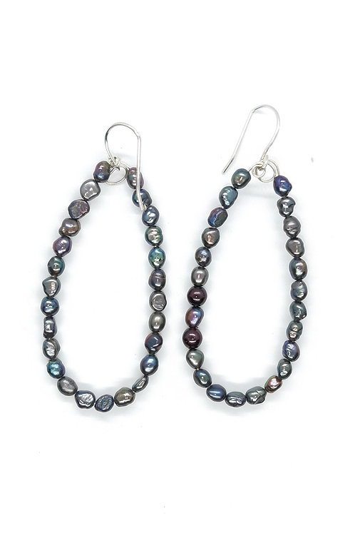 Black Pearl Earring with Sterling Silver Hooks