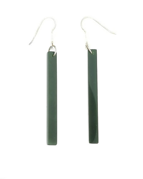 Long Greenstone Cube Drop Earring