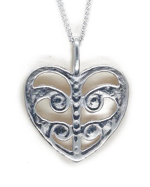 Sterling Silver Koru Heart Pendant
