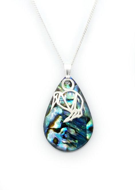 Paua Pendant with Silver Kiwi