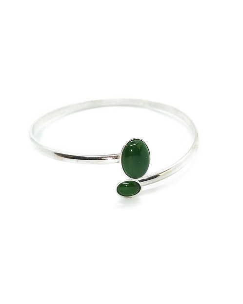 Sterling Silver Open Bangle with Oval  Cabochons
