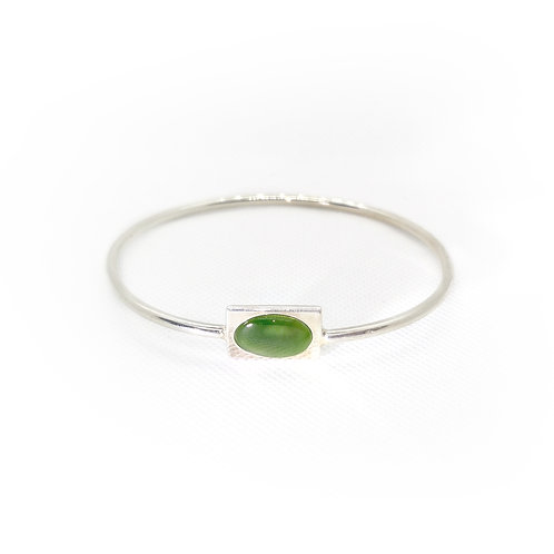 Sterling Silver Bangle With Greenstone