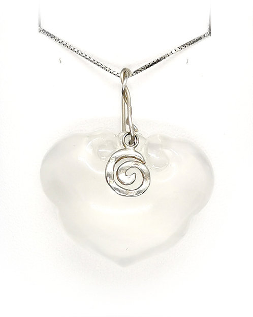 Crystal Heart Pendant with Sterling Silver Koru